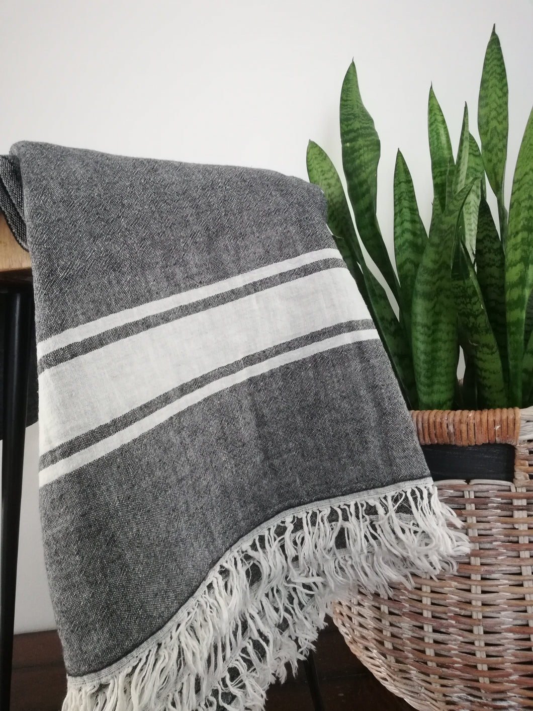 Didim Throw( Charcoal / Cream) - Artisan Village Design