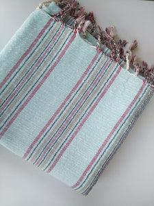 Arte Mint  Pure Cotton Handwoven Towel Mint with Red /Black/ Sand Stripes