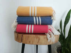 Bide Towel set 3 towels  Blue, Dark Yellow, Red - Artisan Village Design