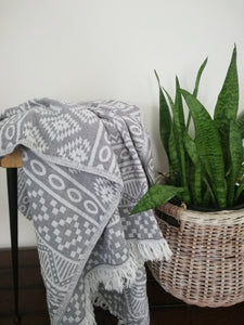 Tribal Double Sided Throw Blanket - gray