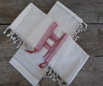 Metiz Cotton Handwoven Towel  Natural with Red stripe - Artisan Village Design