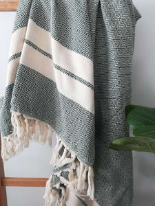 Cotton Double Stripes Throw Towel - Dark Green