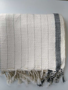 Ela Natural / Black  Handwoven Pure Cotton Towel Black Stripes