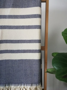 King size Cotton Blanket Herringbone-Weave -Navy
