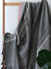 Istanbul  Cotton Handwoven Towel Gray with Red stripe