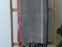 Istanbul  Cotton Handwoven Towel Gray with Red stripe - Artisan Village Design