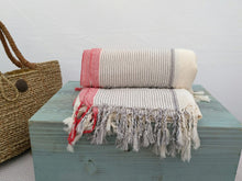 Metiz Cotton Handwoven Towel  Natural with Red stripe