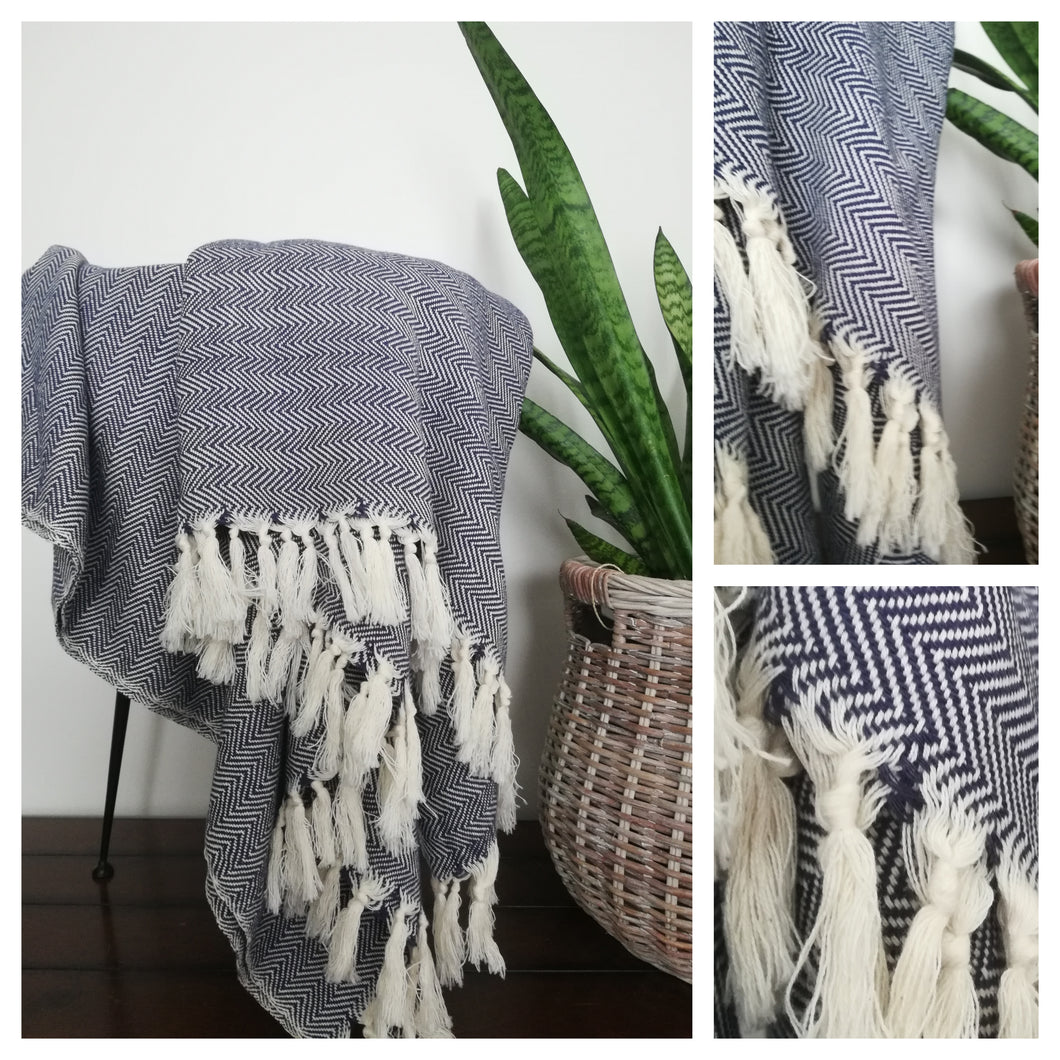 Misa Light  Gray linear Herringbone throw blanket