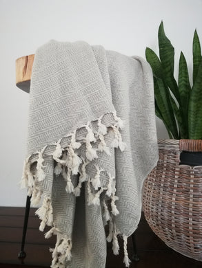 Misa Light  Gray linear Herringbone throw blanket - Artisan Village Design