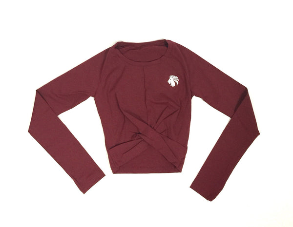 Risk It All Long Sleeve Crop - Burgundy