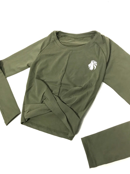 Risk It All Long Sleeve Crop - Army Green