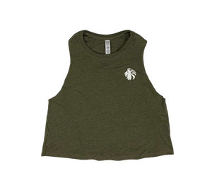 Basic Comfort Racerback Crop - Heather Olive