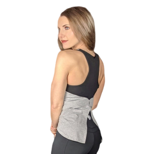 Heart And Soul Flowy Tank - Heather Grey/Black