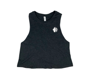 Basic Comfort Racerback Crop - Heather Charcoal