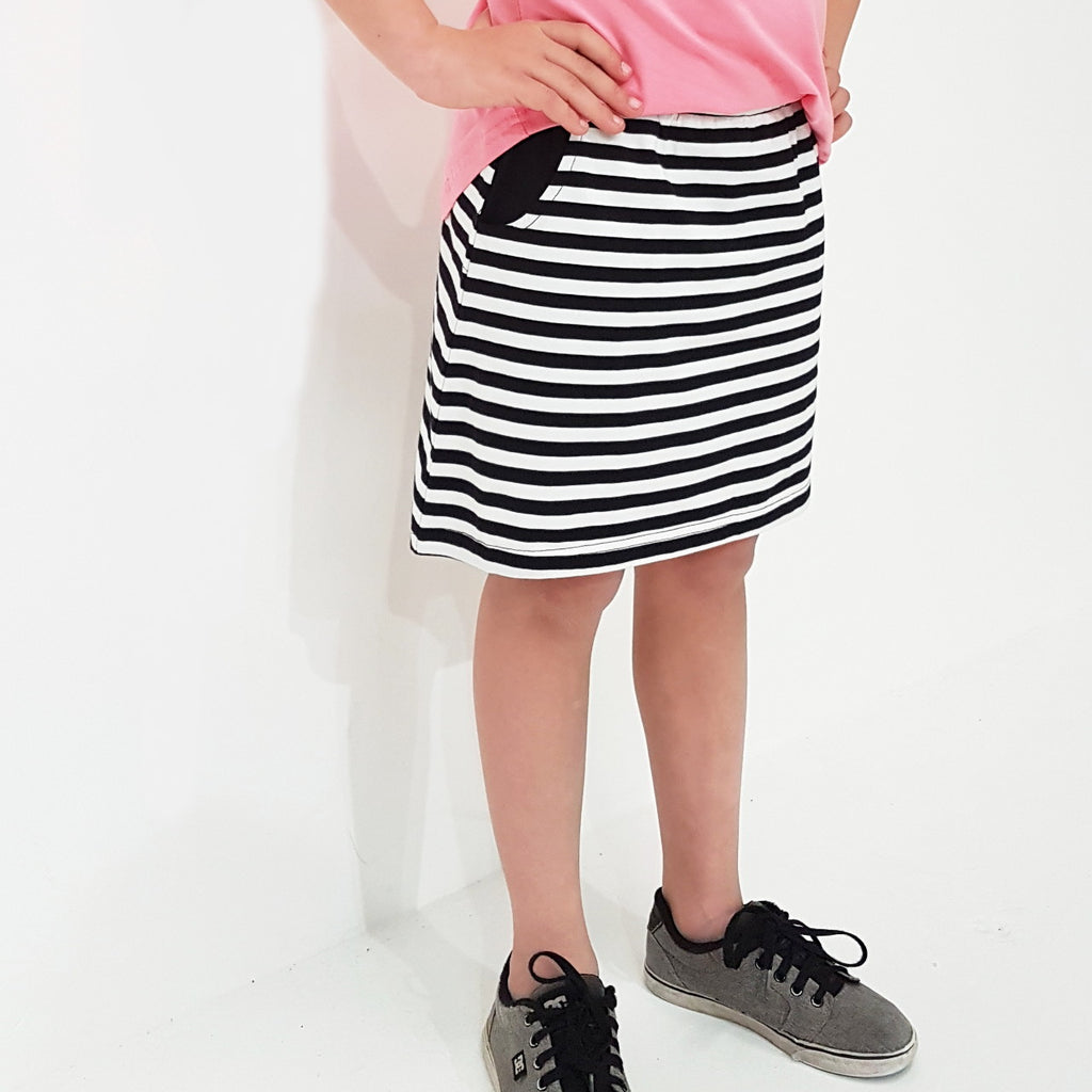 Kaitlyn Skirt - B/W Stripe