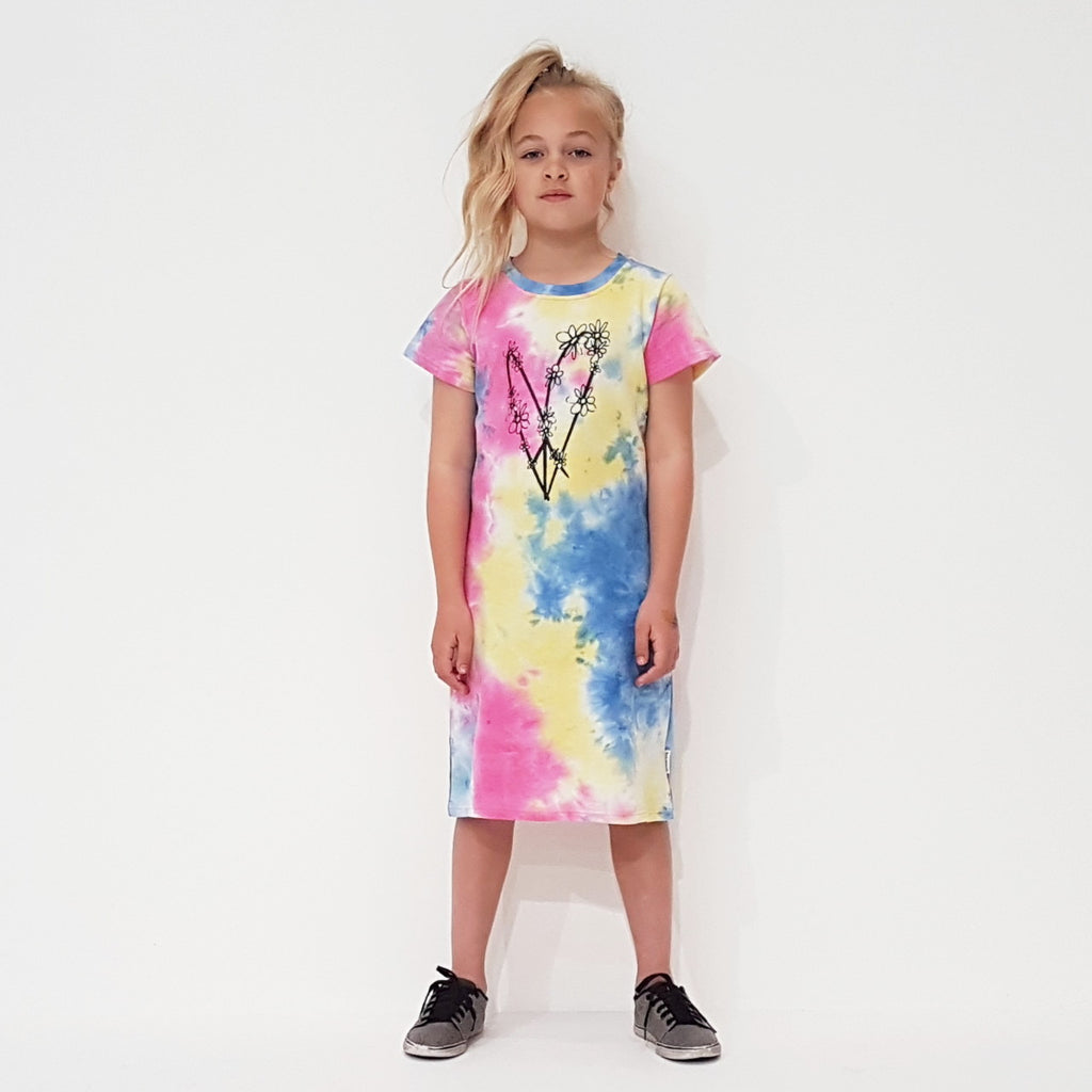 Tie Dye Peace Out T-Shirt Dress