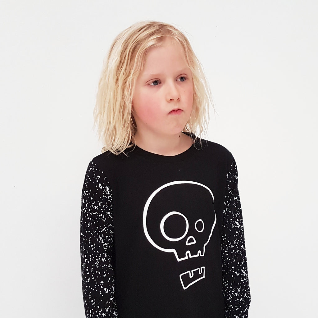 Punk Baby Long Sleeve Tee - Black Splatter Skull