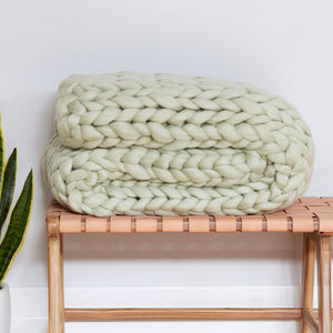 Chunky Wool Blanket - GREEN