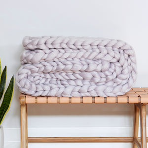 Chunky Wool Blanket - PEWTER