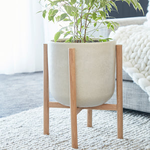 Luna Series - Medium pot planter with timber legs - ECRU