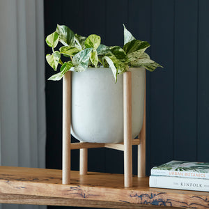 Luna Series - Small pot planter with timber legs - ECRU
