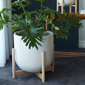 Luna series - Extra Large pot planter with timber legs - ECRU