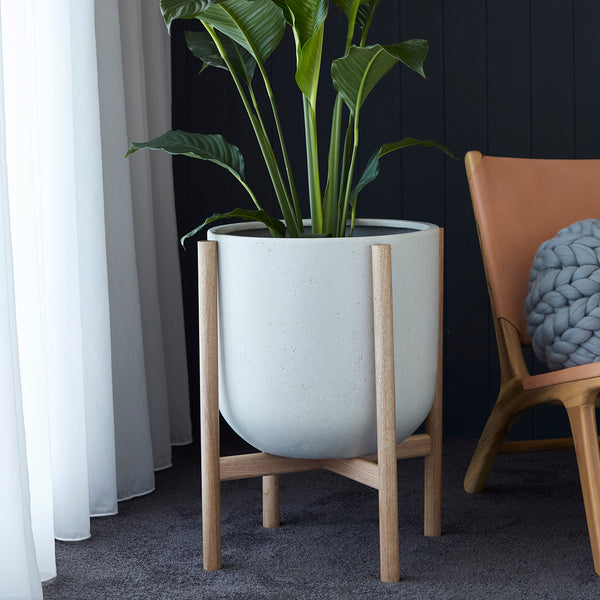 Luna series - Large pot planter with timber legs - ECRU
