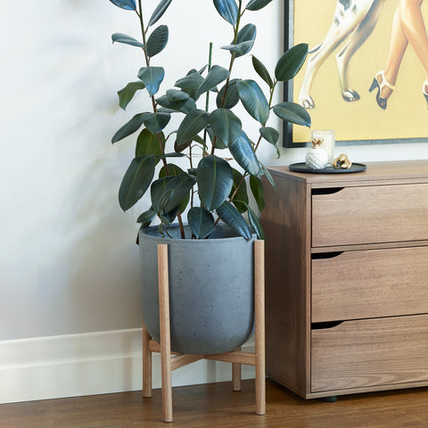 Luna series - Large pot planter with timber legs - SLATE