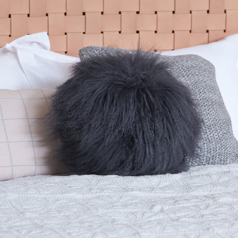 Mongolian Sheepskin cushion - Round - CHARCOAL