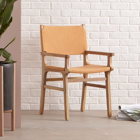 Sam Dining Arm Chair - Flat - NATURAL- SECOND