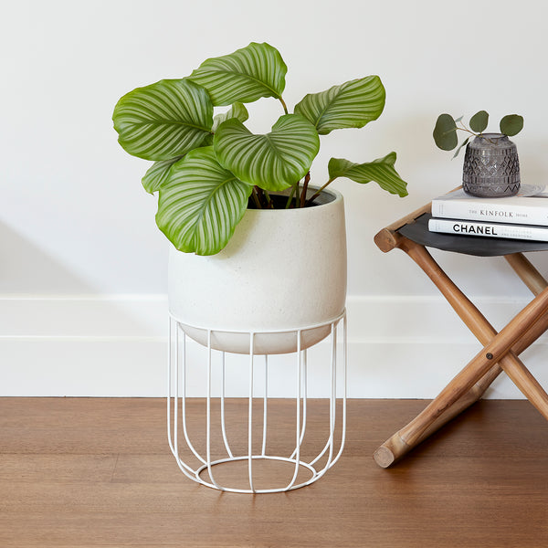 Zoe series - Medium pot planter with steel legs - WHITE TERRAZZO