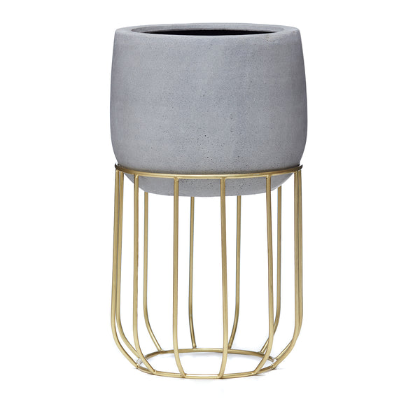 Zoe series - Small pot planter with steel legs - CONCRETE