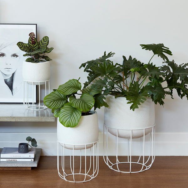 Zoe series - Large pot planter with steel legs - WHITE TERRAZZO