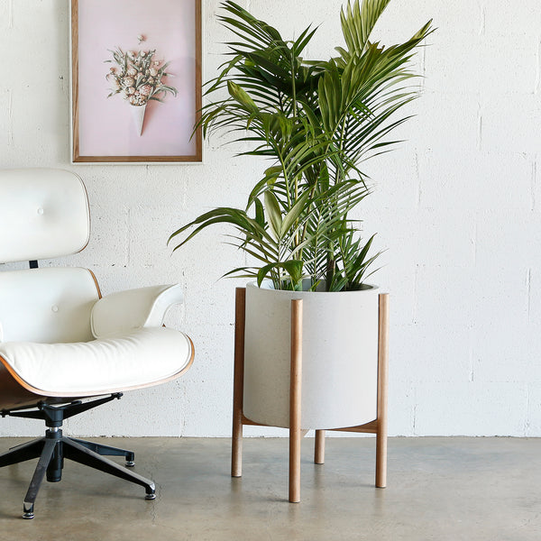 Christo series - Large pot planter with timber legs - WHITE TERRAZZO