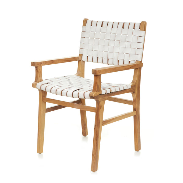 Sam Dining Arm Chair - Woven - WHITE - LAST ONE