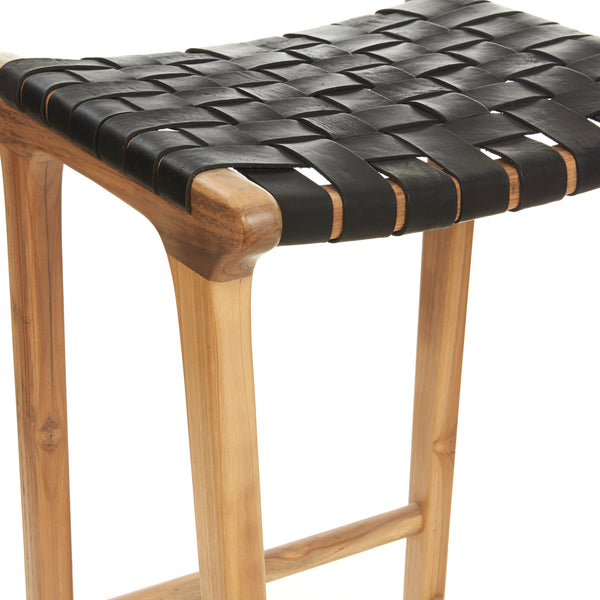 Barton Bar Stool -  Woven - BLACK