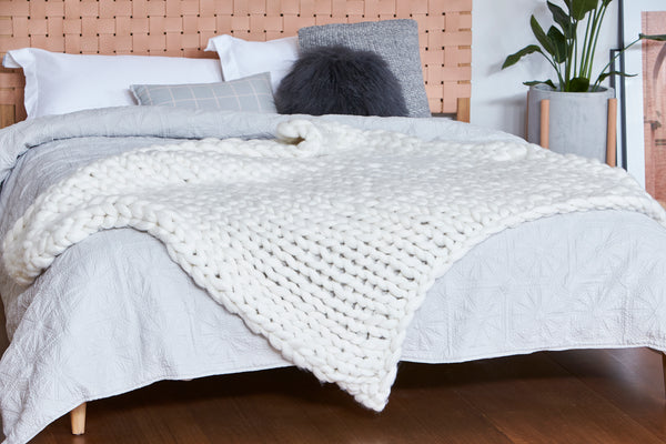 Chunky Wool Blanket - NATURAL WHITE