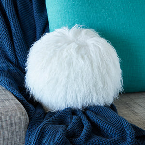 Mongolian Sheepskin cushion - Round - WHITE