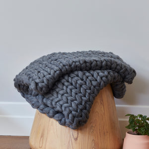 Chunky Wool Bed Runner - CHARCOAL MARLE