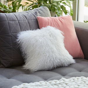 Mongolian Sheepskin cushion - Square - WHITE