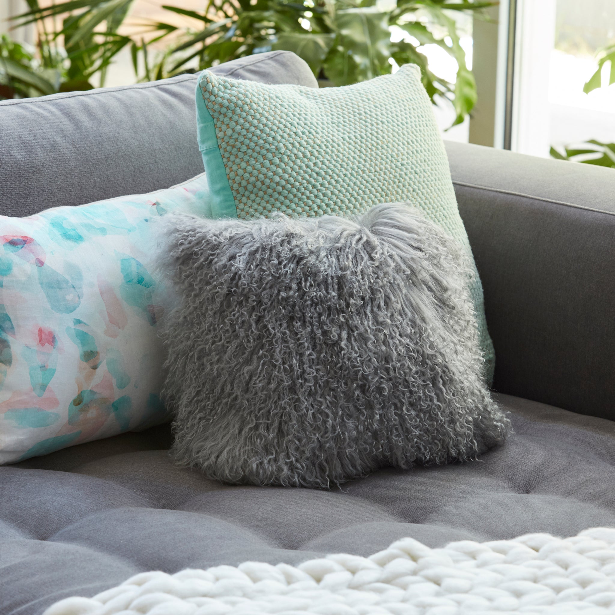 Mongolian Sheepskin cushion - Square - GREY