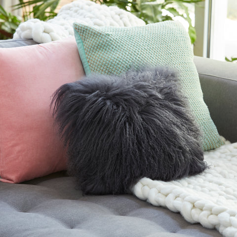 Mongolian Sheepskin cushion - Square - CHARCOAL