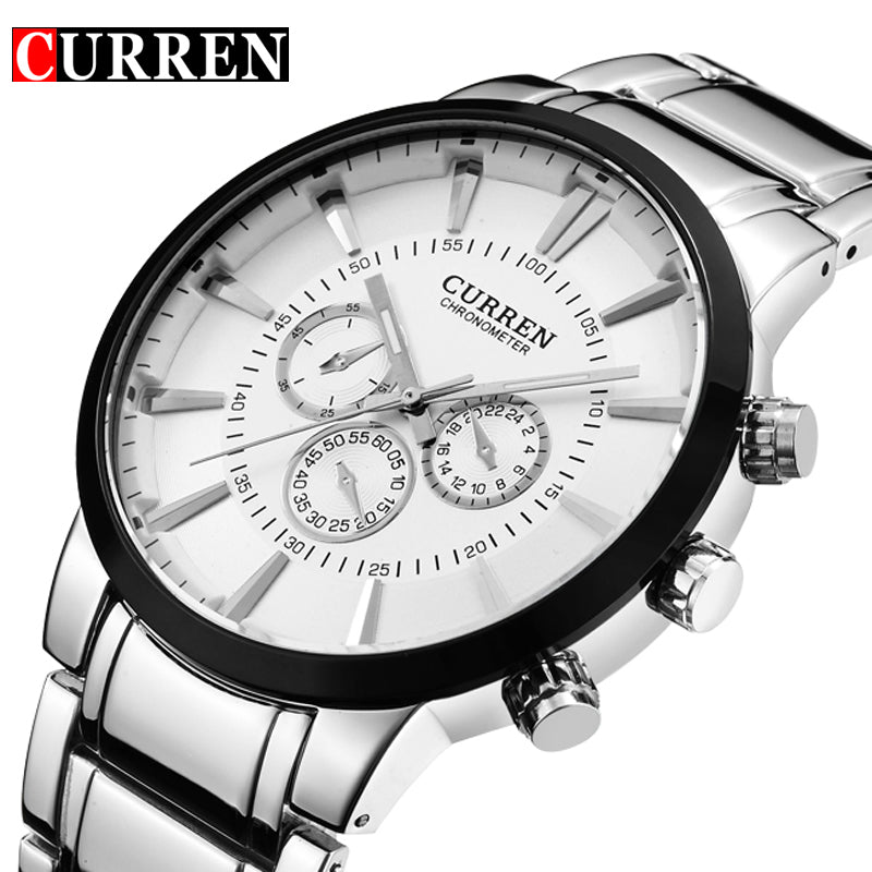 Current Fashion Big dial Casual quartz watch Men's stainless steel Military Wristwatch waterproof