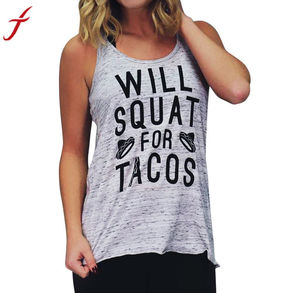 2017 Summer Casual Tops Women Fitness Wear Pullover T-Shirt Print Sleeveless Lettrers Printing Casual Sleeveless Top