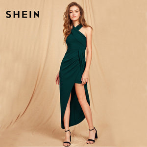 SHEIN Green Maxi Christmas Dress Halterneck Crisscross Front Sexy Club Wear Party Dress Women Sleeveless Asymmetrical Long Dress