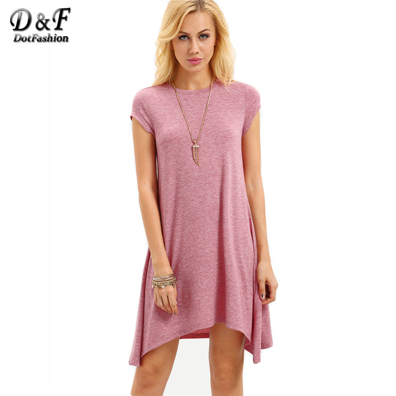 Dotfashion 2018 Summer Pink Cap Sleeve Asymmetrical Short Dress Casual Ladies Wear Round Neck Loose Mini Dress