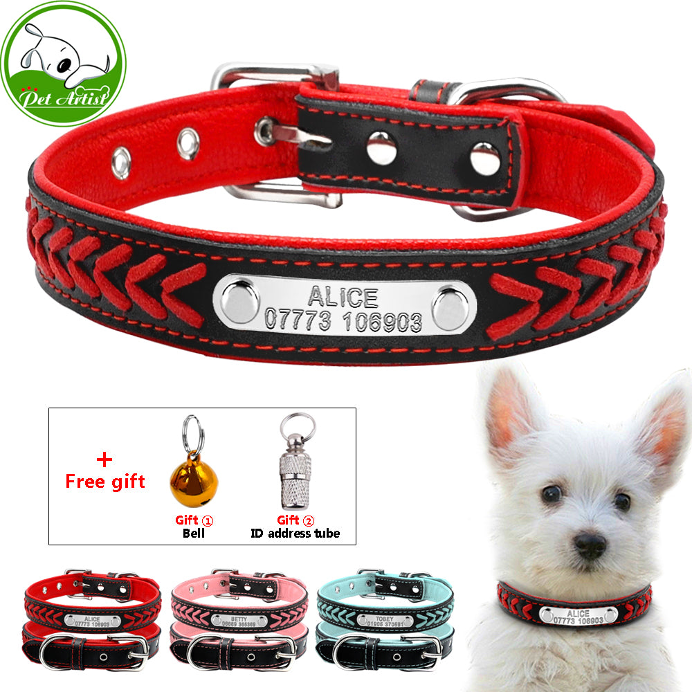 5b1379bbb6c1 Personalized Engraved Dog Collar Braided Custom Leather Puppy Cat Pet  Collars With Name Plate Phone ID ...