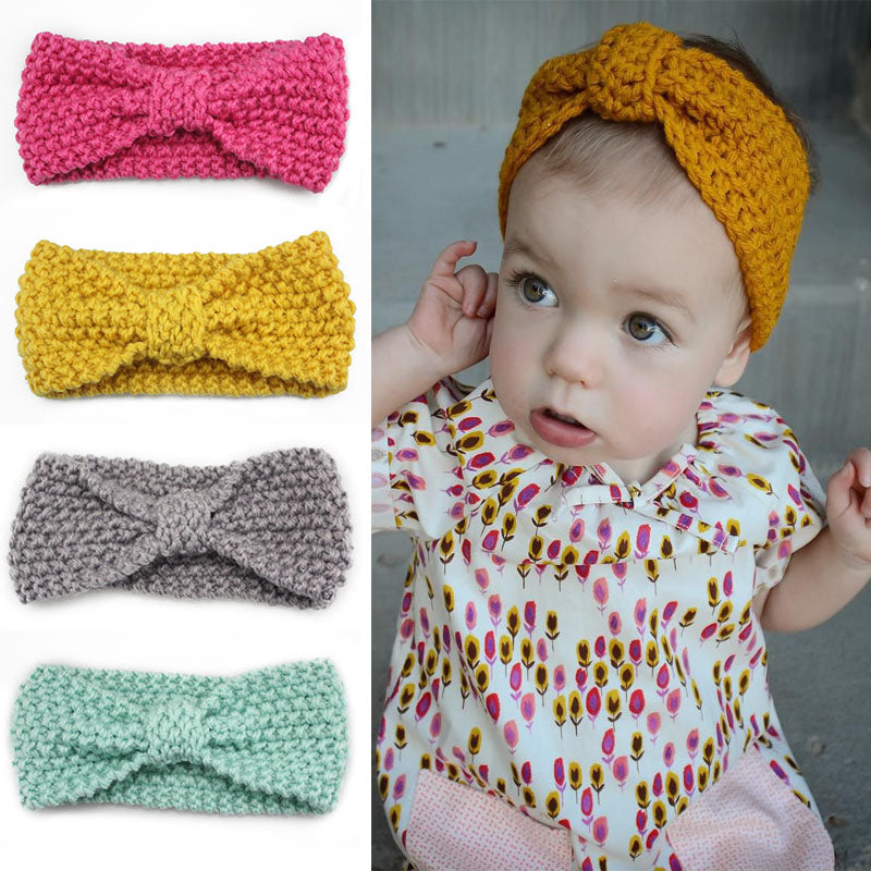 Boomly Mother-Baby Winter Warm Knitting Wool Headband Knotted Head Wrap Baby Girl Hair Band Turban Head Bands Parent Child Hair Accessory Christmas Birthday Gift Photography Props