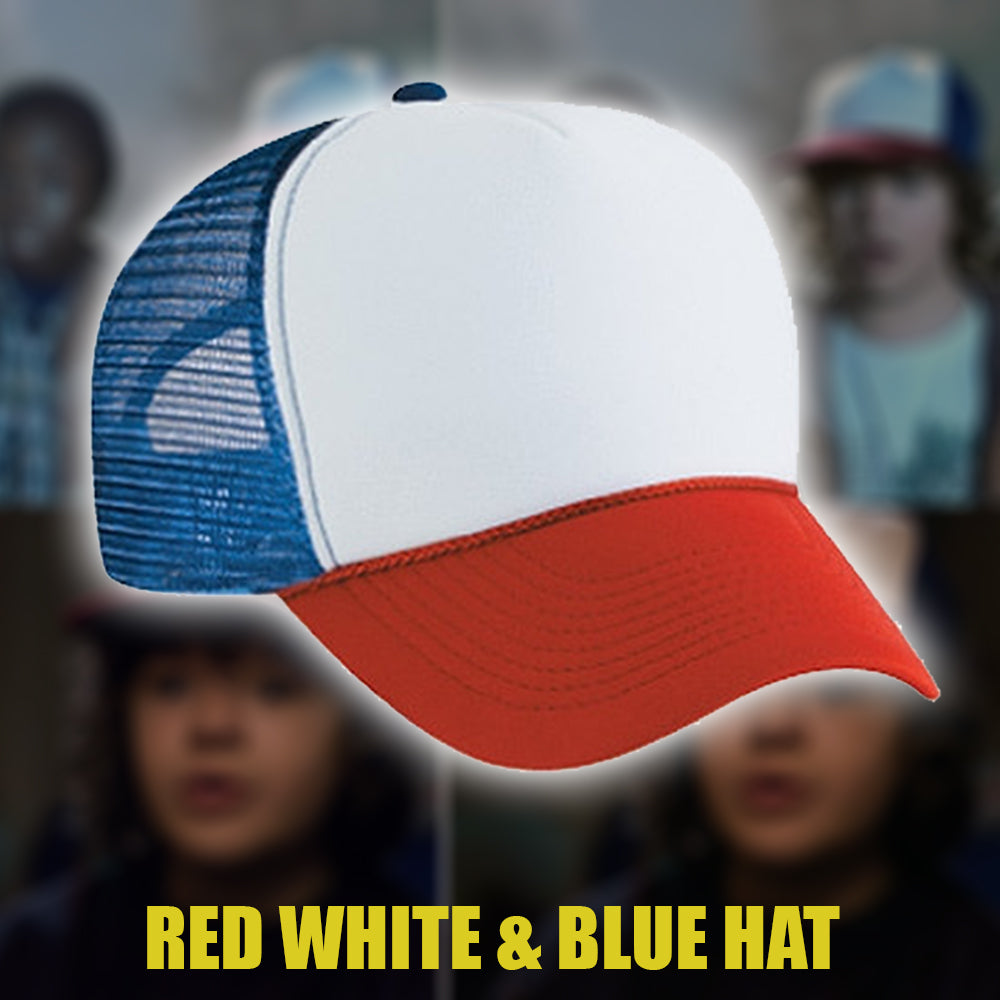 3c3a7136e7ab8 Red White   Blue HAT - Stranger Things Hat - Dustin Hat – MIONESTORE