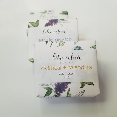 Lilac and clover soap packaging